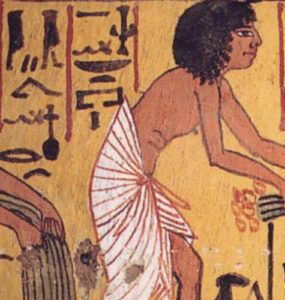 Peasant couple, Sennedjem and wife Ti harvesting Papyrus.