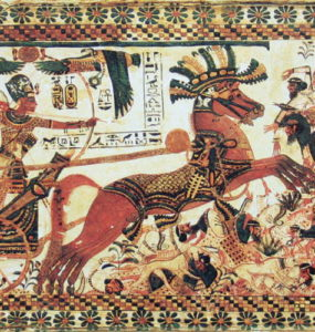 The Pharaon Tutankhamun destroying his enemies.
