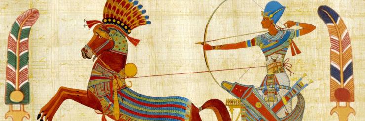 King Tutankhamun riding a chariot.