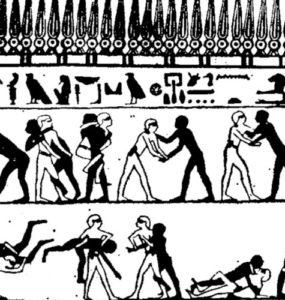 Egyptian wrestling scene.
