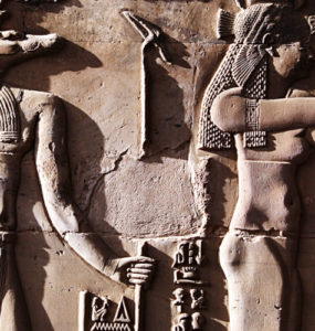Temple of Kom Ombo: Relief of the crocodile god Sobek.