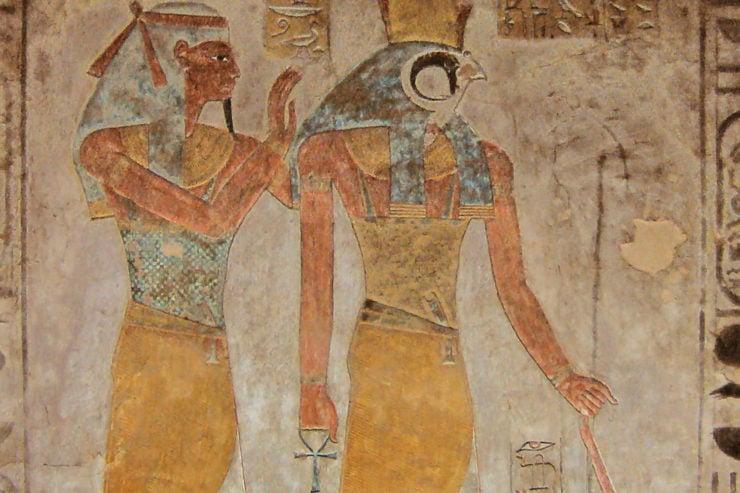 Egyptian gods Horus and Geb.