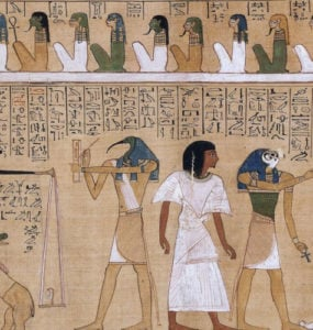 The judgement of the dead in the presence of Osiris.
