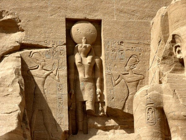 A depiction of Ra The Sun God, carved in stone.