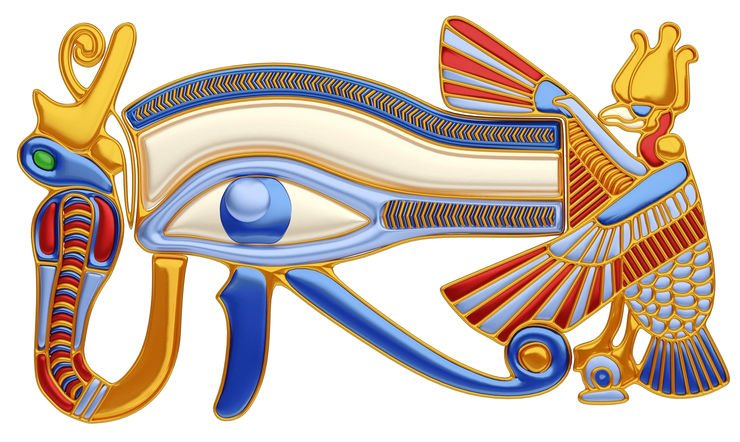 Illustration of the eye of Horus, an antique egyptian symbol, surrounded by the figures of the vulture and the cobra, in gold and precious stones.