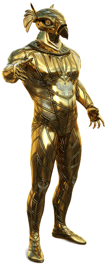 Horus depicted in gold plated armor.