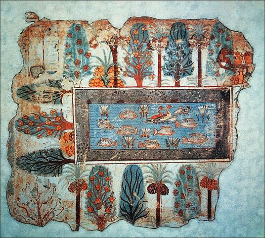 Egyptian Fresco / Pond in a garden. Fragment from the Tomb of Nebamun.