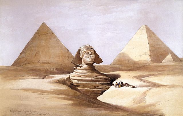 19th century painting of Sphinx of Giza, partly under sand, with two pyramids in the background.