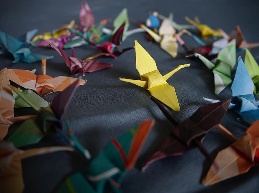 Colorful Origami cranes.