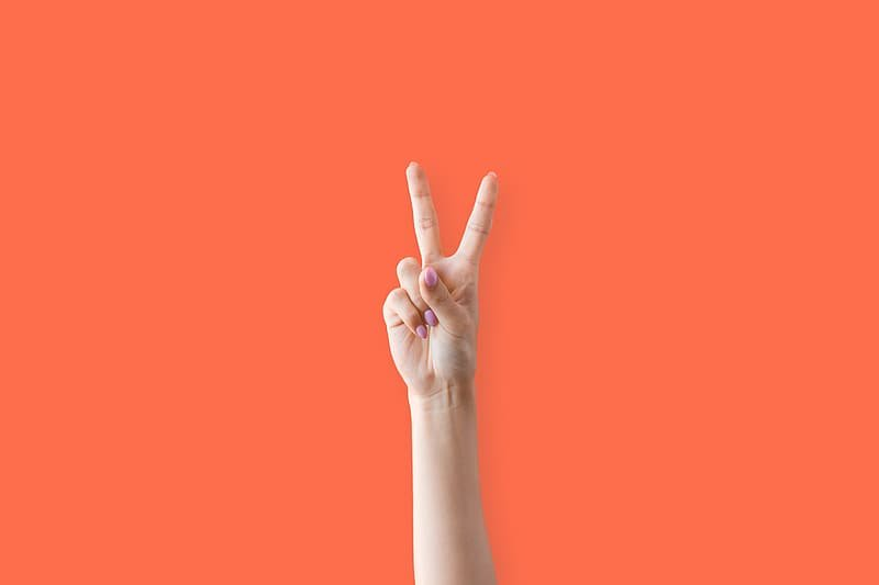 A Person making the V gesture.