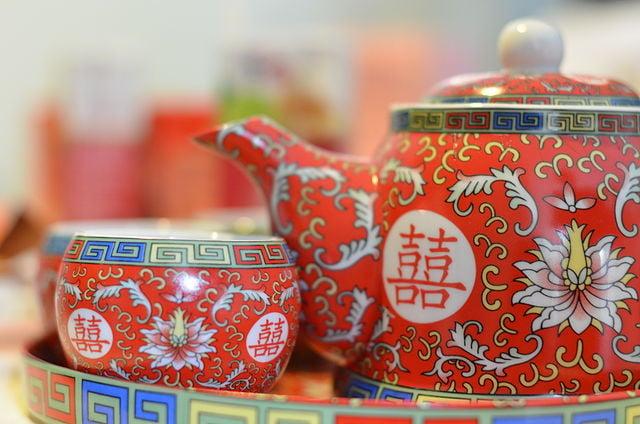 Chinese wedding ceremony teaware / Chinese symbol of happiness.