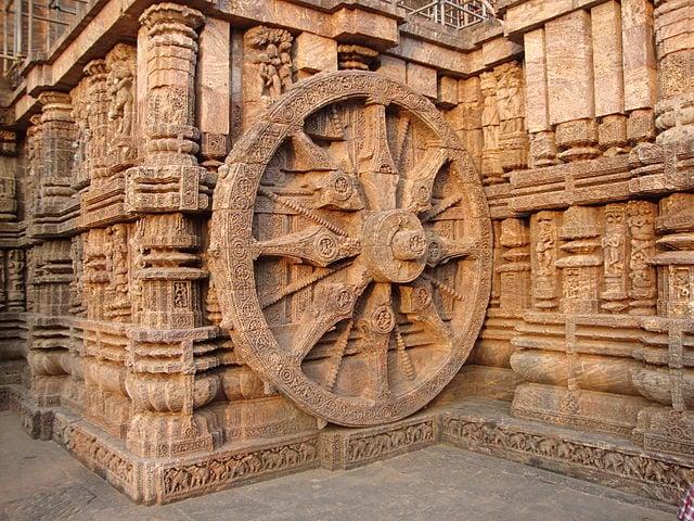 Ancient sculpture of a sun wheel.