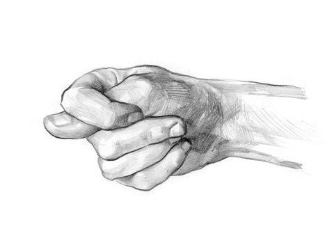 Pencil drawing Hand with Mano Fico/fig sign.