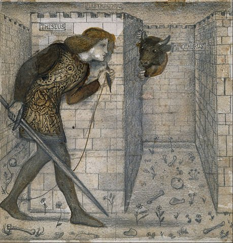 Theseus in the Minotaur's labyrinth.
