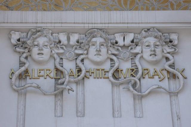Three Gorgons on a building in Vienna.