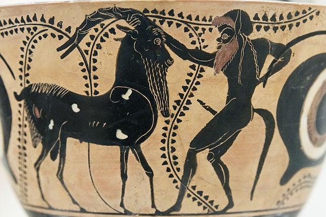 Goat artwork. Ancient terracotta bowl.