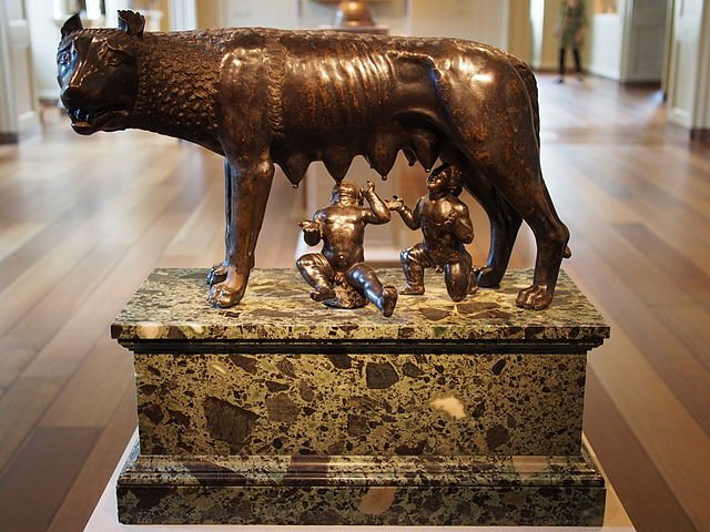 Replica of the roman she-wolf, Romulus and Remus.