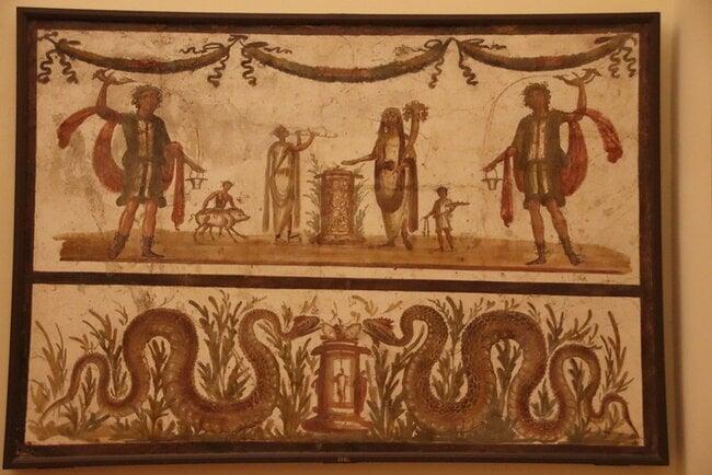 Roman Fresco depicting Lares & sacrifice scene with a pair of snakes.