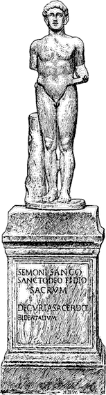 Illustration of a statue of Sancus, from the Sabine's shrine.