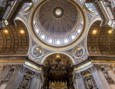 Architectural details of the dome at Saint Peter's Basilica, Rome.